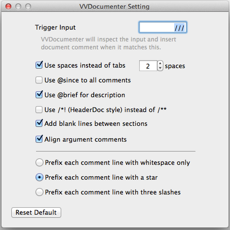 VVDocumenter Config