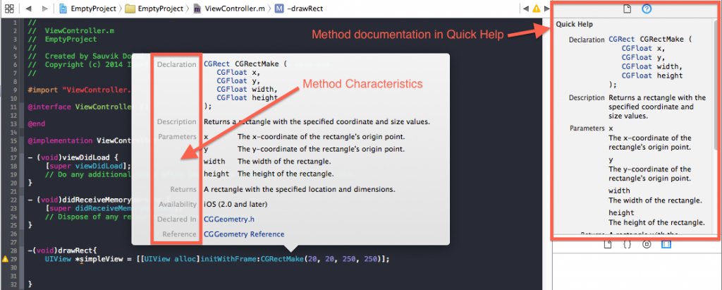 Apple's Method Documentation