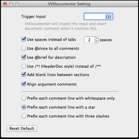 VVDocumenter Config