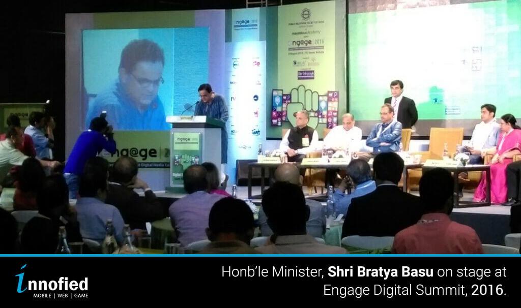 Bratya Basu on stage of Engage Digital Summit