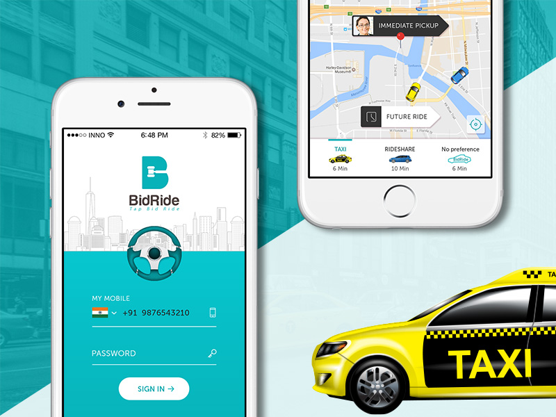 bidirde- taxi app on bid